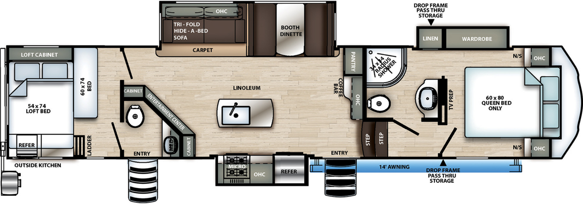 View Floor Plan for 2021 FOREST RIVER SANDPIPER C-CLASS 3440BH