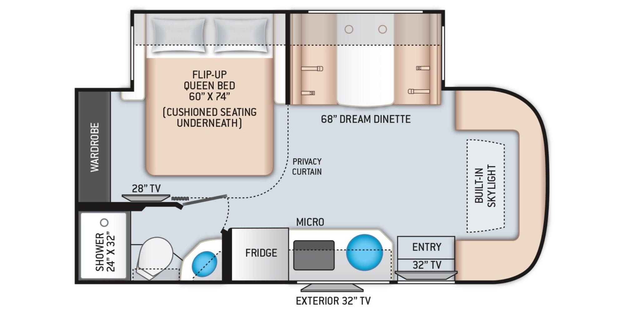 View Floor Plan for 2021 THOR GEMINI 23TW