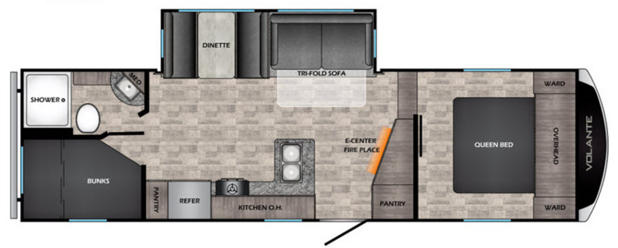 View Floor Plan for 2021 CROSSROADS VOLANTE 251BH
