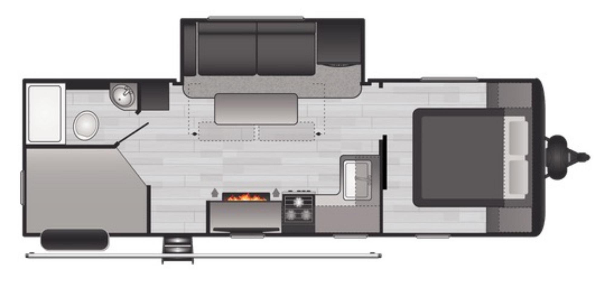 View Floor Plan for 2021 KEYSTONE HIDEOUT 250BH