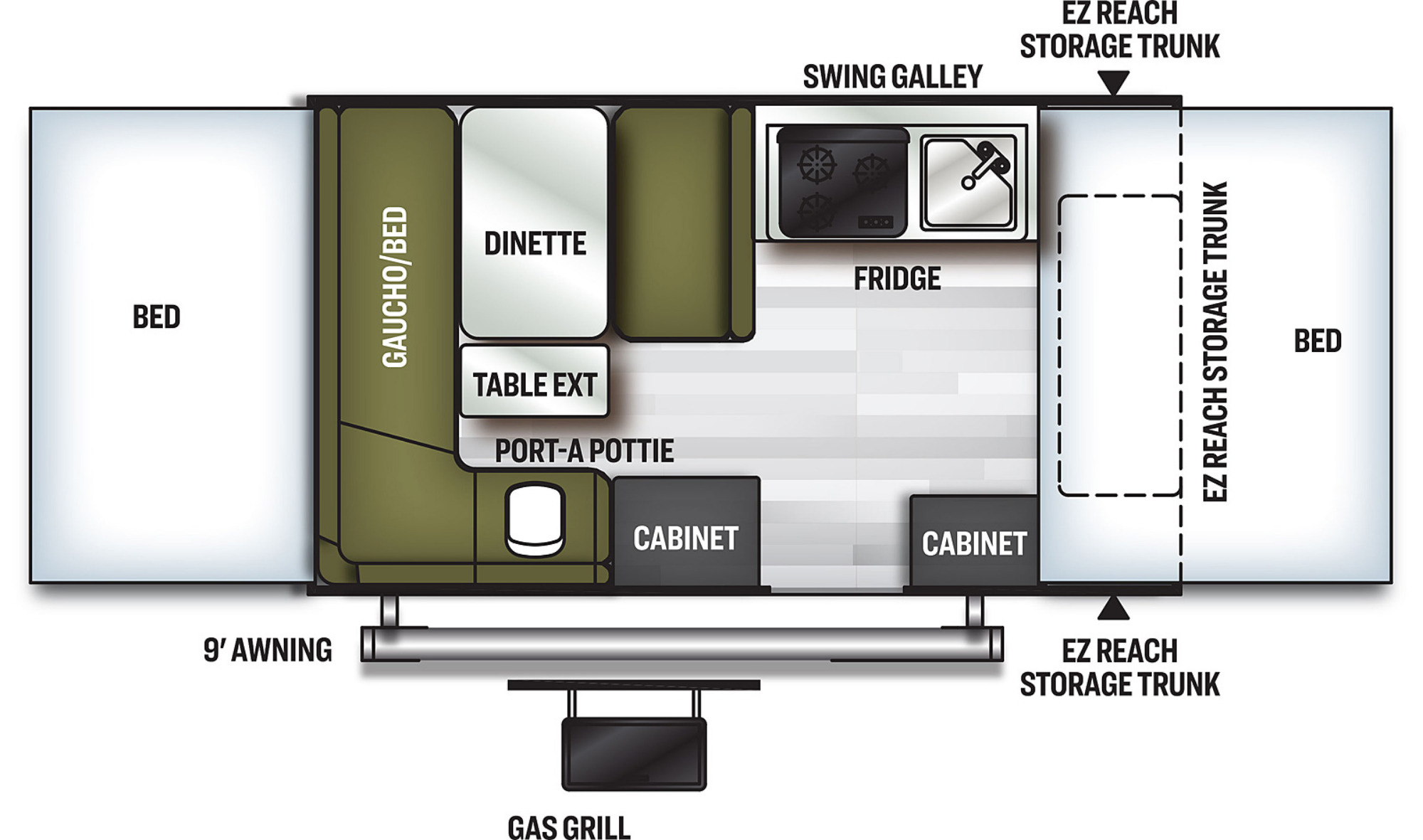 View Floor Plan for 2021 FOREST RIVER FLAGSTAFF SE 206STSE