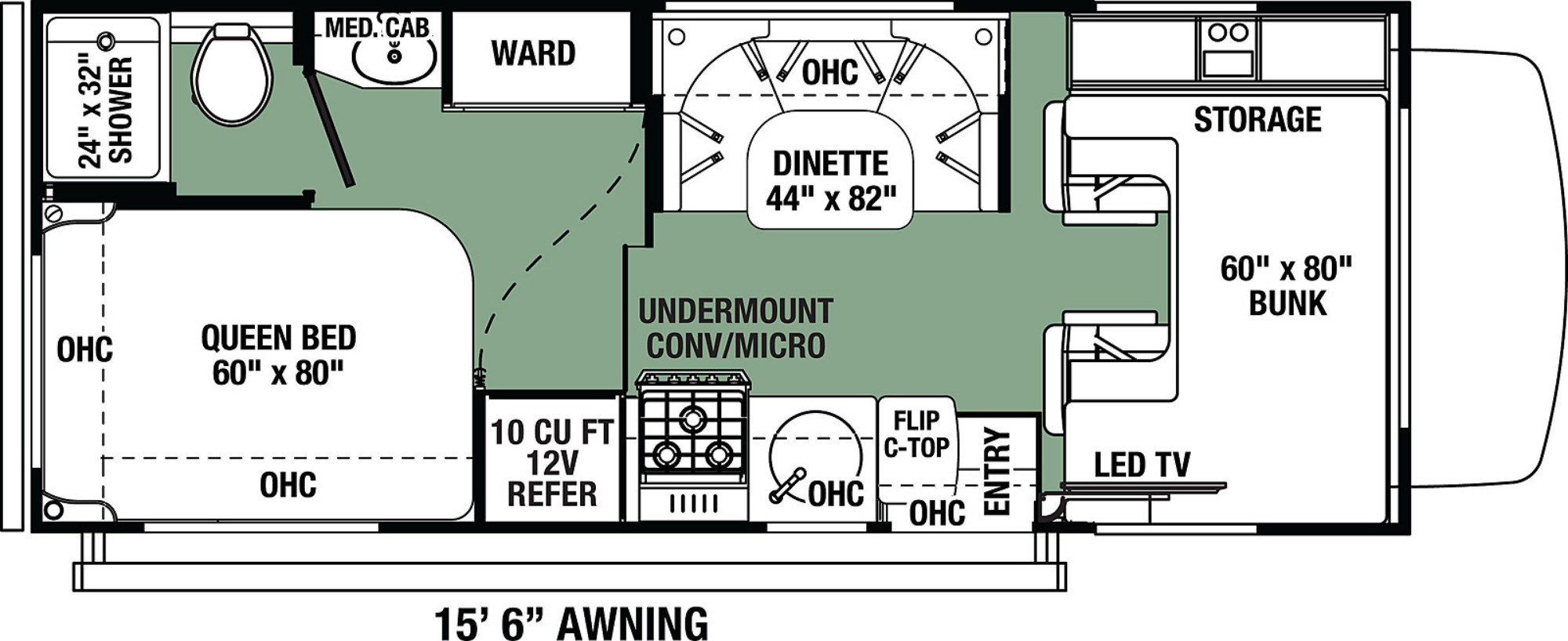 View Floor Plan for 2021 FOREST RIVER FORESTER LE 2351F