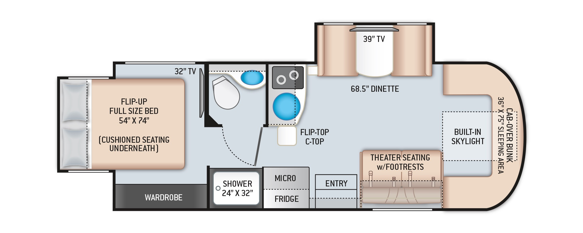 View Floor Plan for 2021 THOR TIBURON 24RW