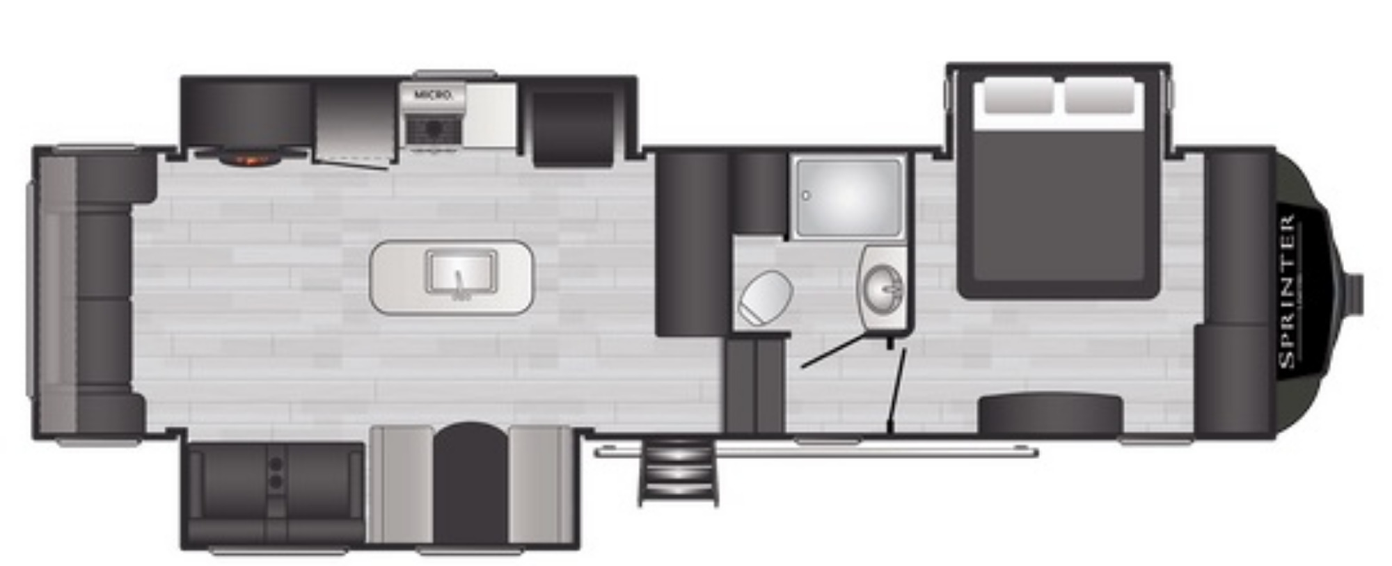 View Floor Plan for 2021 KEYSTONE SPRINTER LIMITED 3190RLS