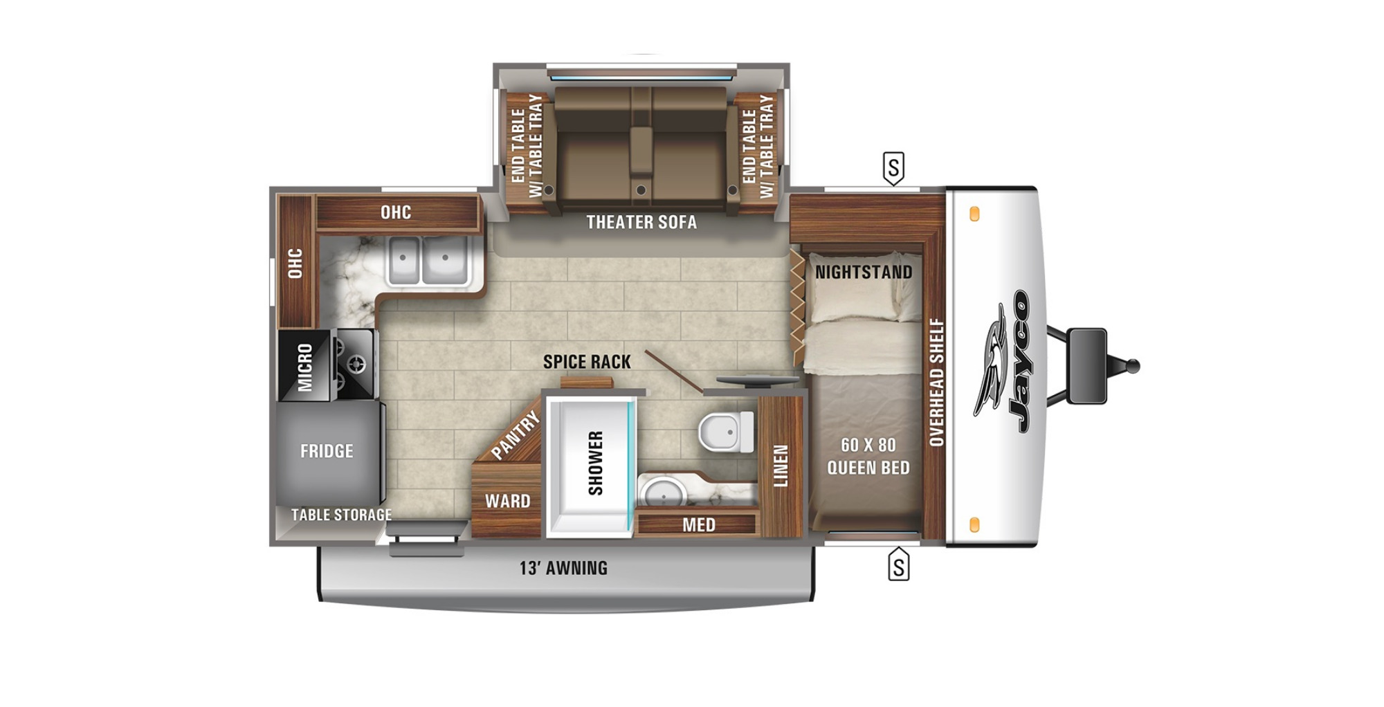 View Floor Plan for 2021 JAYCO JAY FEATHER 16RK
