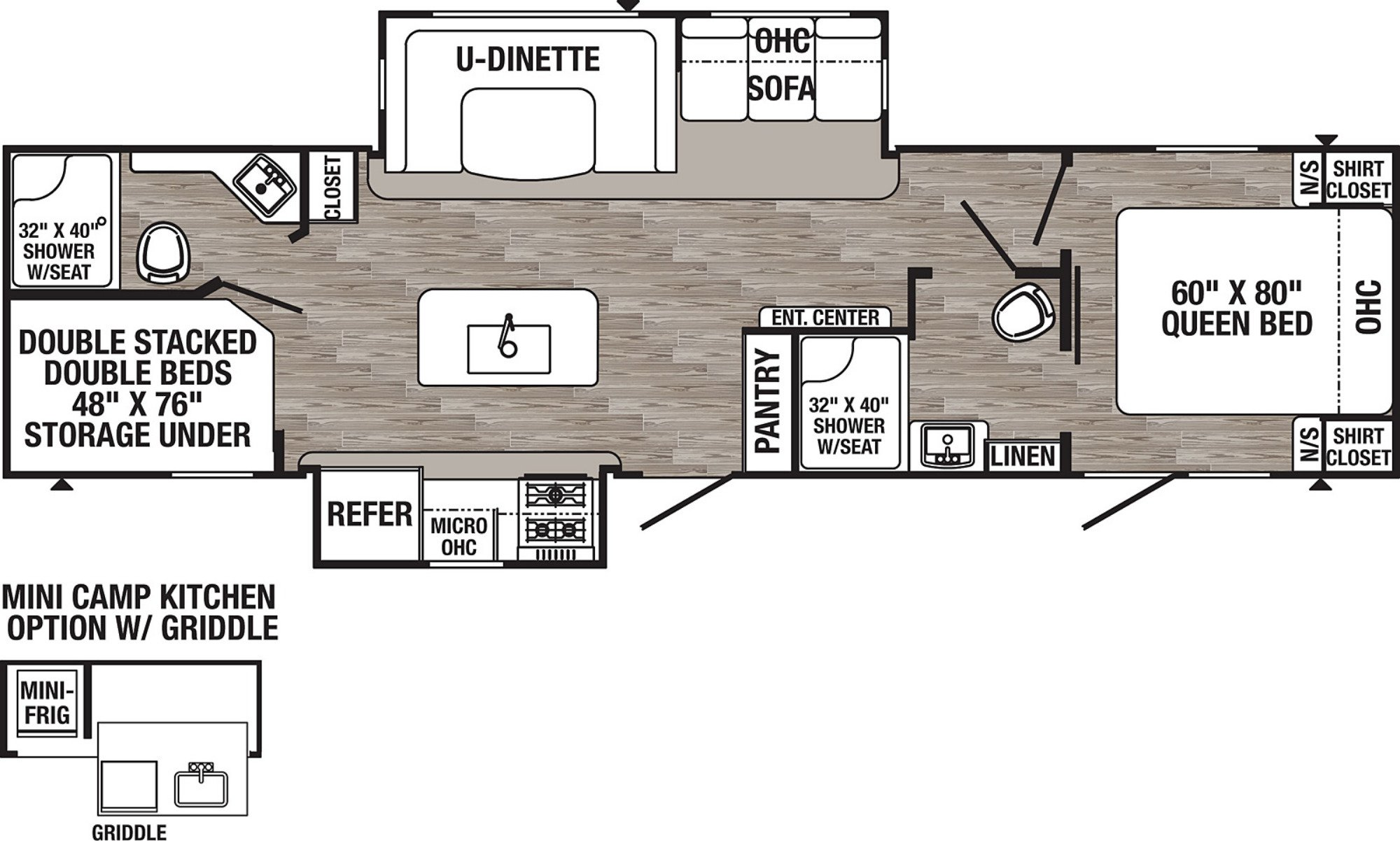 View Floor Plan for 2021 FOREST RIVER PUMA 32BHIS