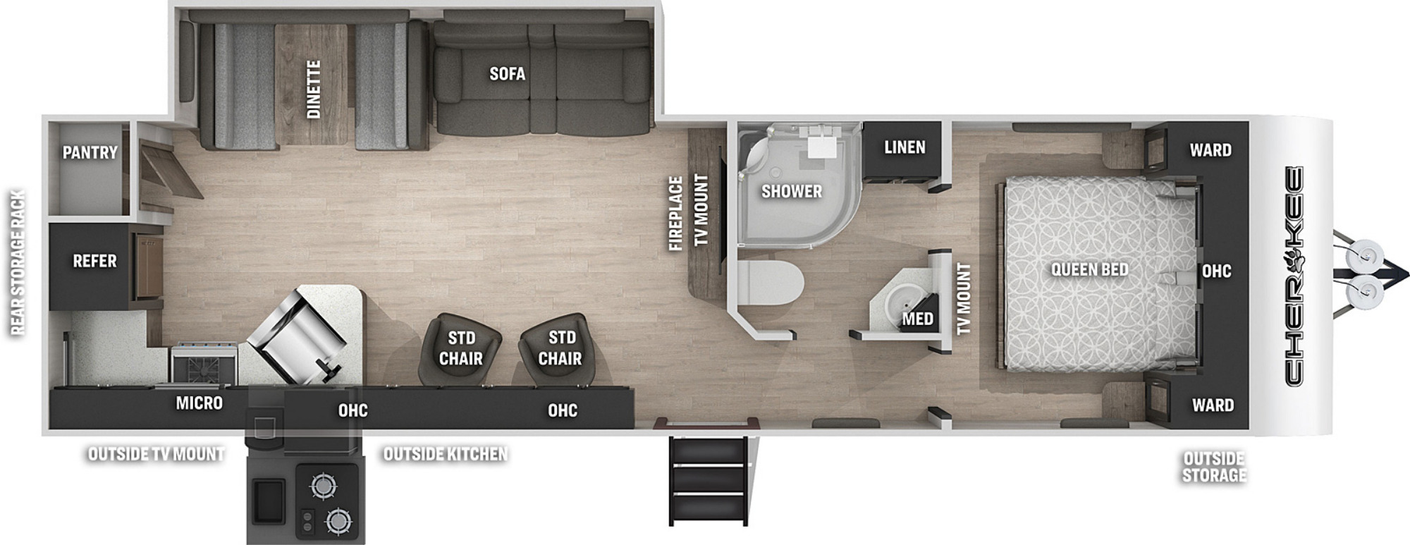 View Floor Plan for 2021 FOREST RIVER CHEROKEE 274RKW