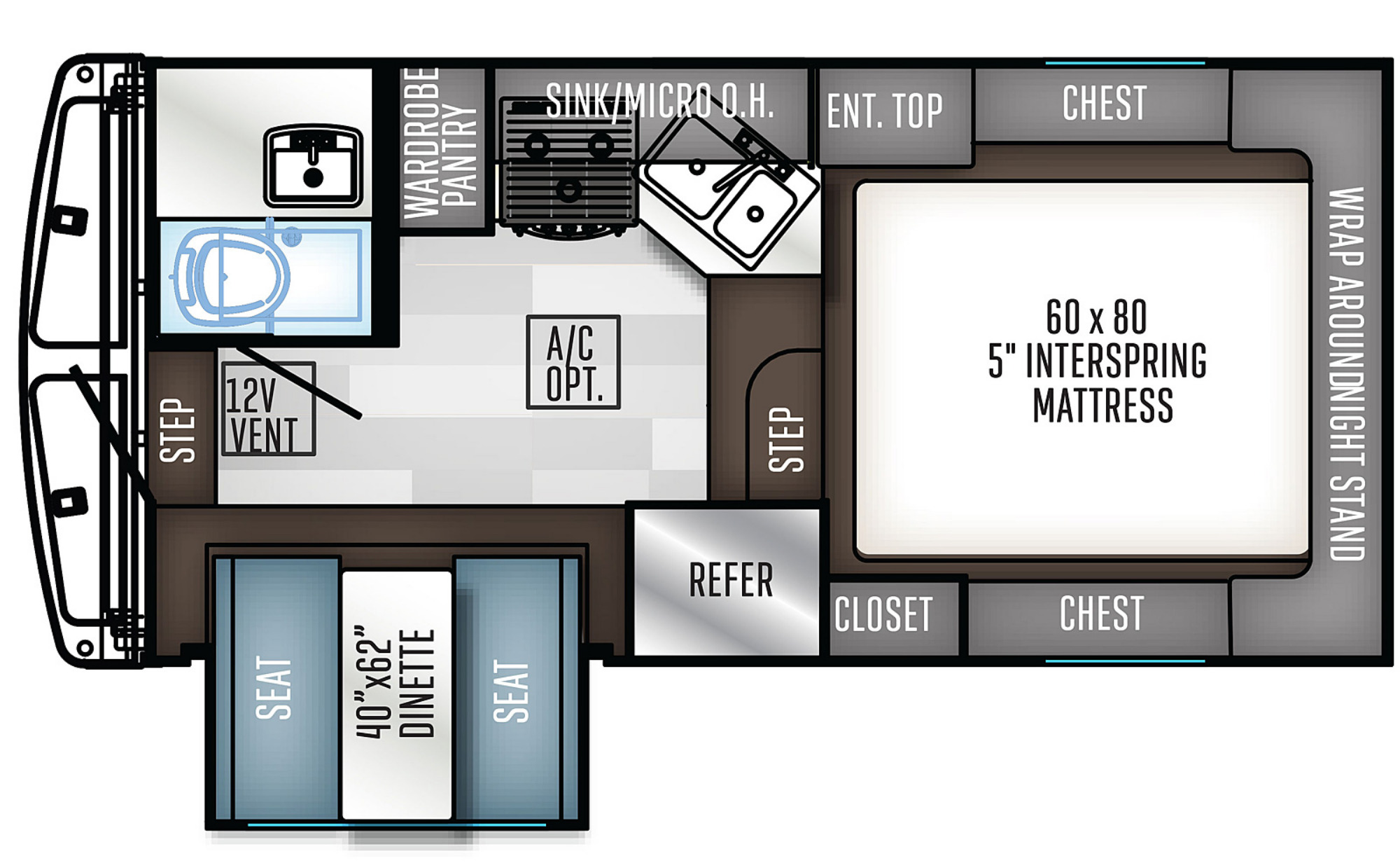 View Floor Plan for 2021 FOREST RIVER REAL-LITE HS-1912