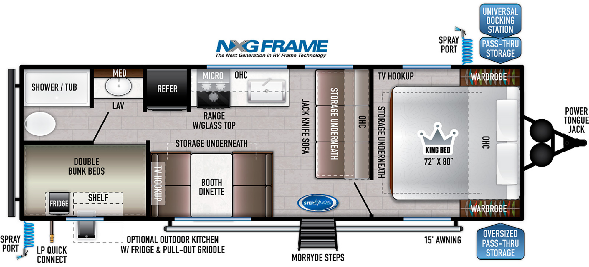 View Floor Plan for 2021 EAST TO WEST DELLA TERRA 250BH