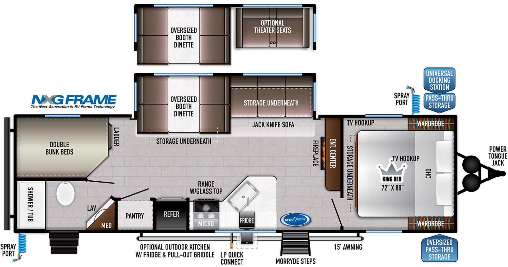 View Floor Plan for 2021 EAST TO WEST DELLA TERRA 271BH