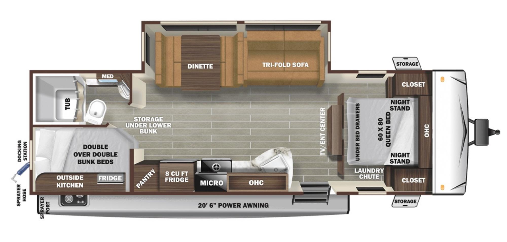 View Floor Plan for 2021 STARCRAFT SUPER LITE 261BH