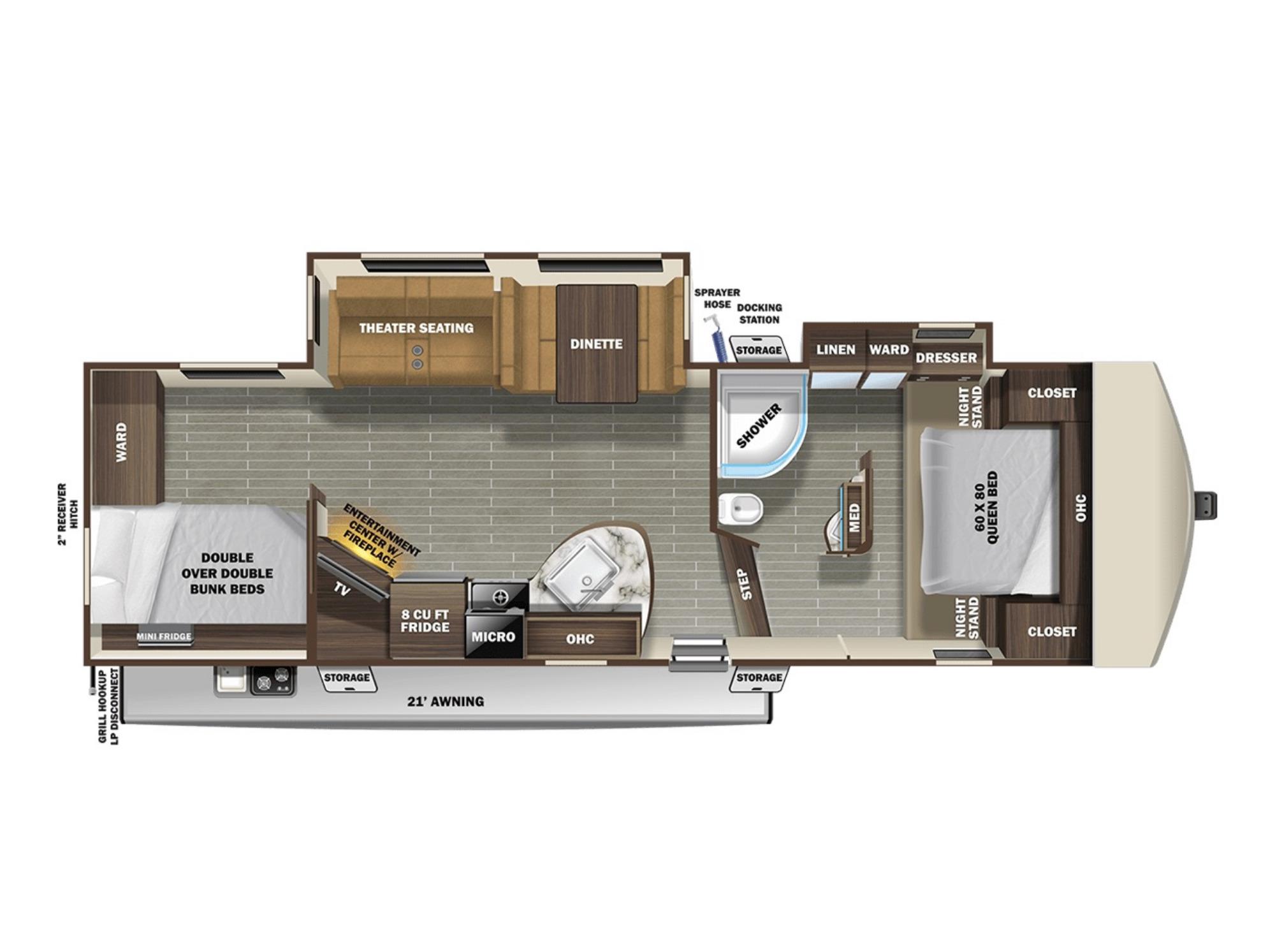 View Floor Plan for 2021 STARCRAFT TELLURIDE 296BHS