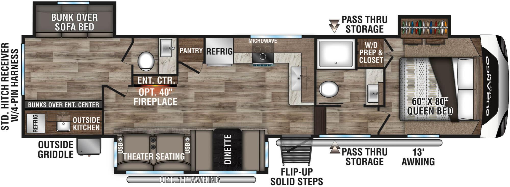View Floor Plan for 2021 K-Z RV DURANGO HT 291BHT