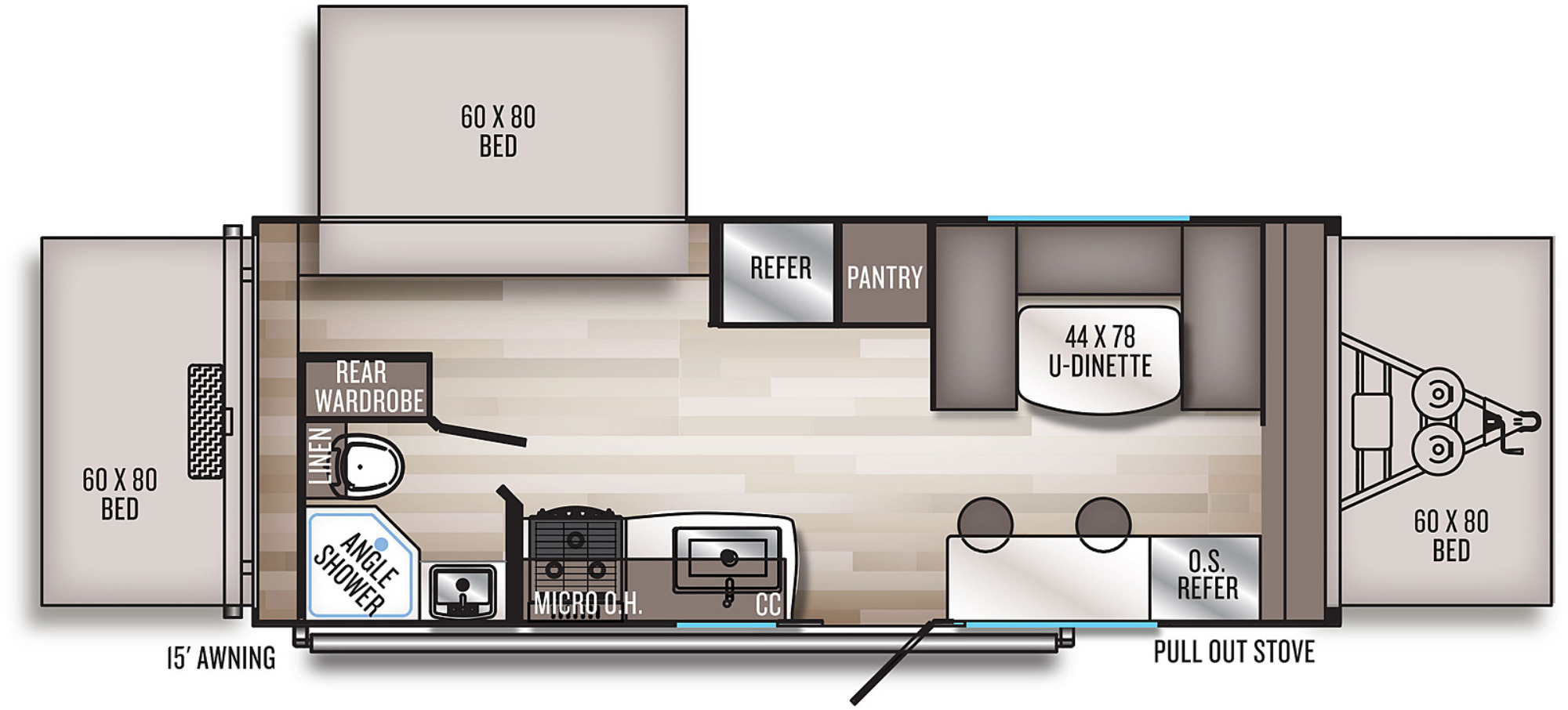 View Floor Plan for 2021 FOREST RIVER SOLAIRE EXPANDABLE 185X