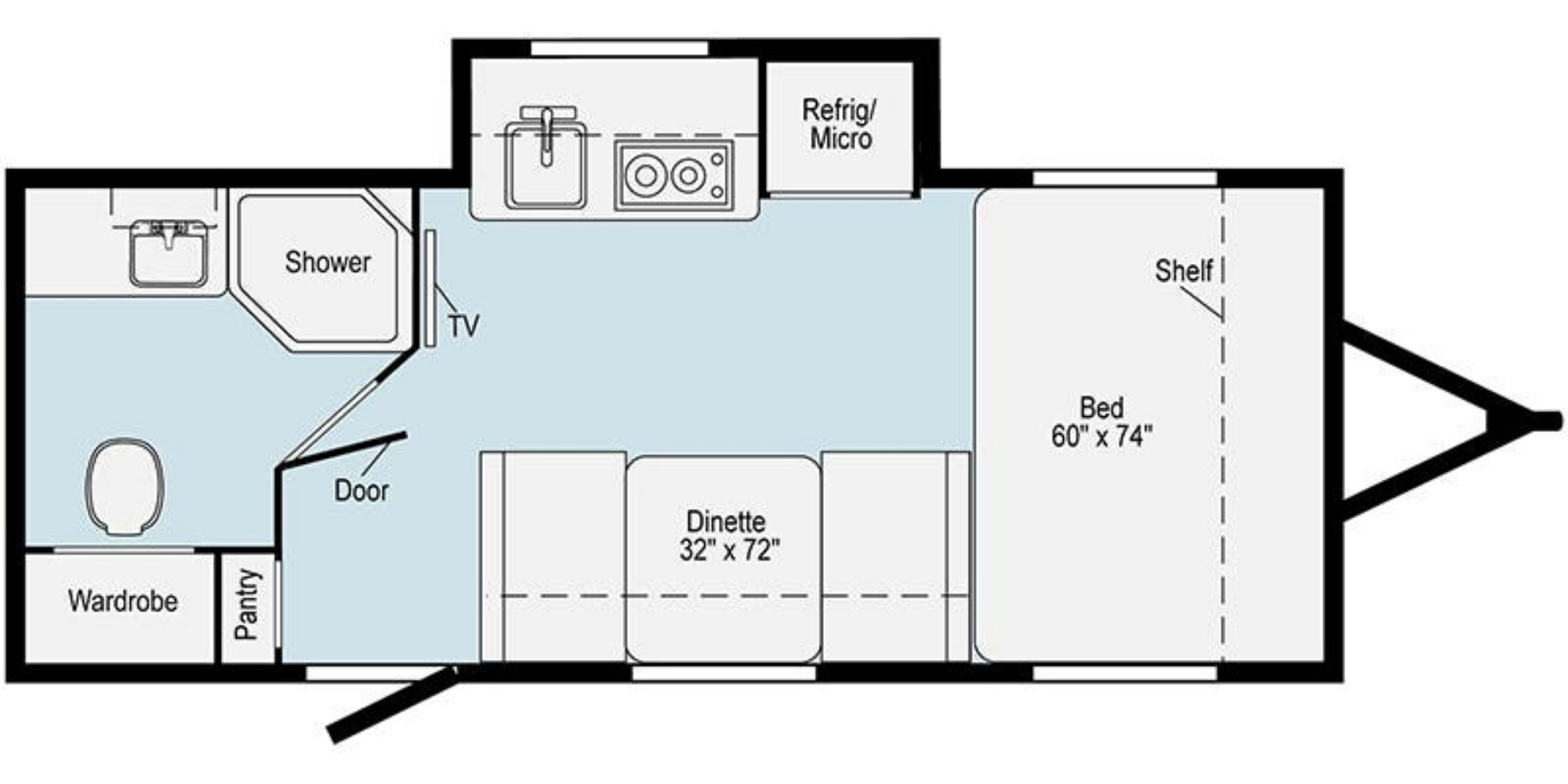 View Floor Plan for 2021 WINNEBAGO HIKE 170S
