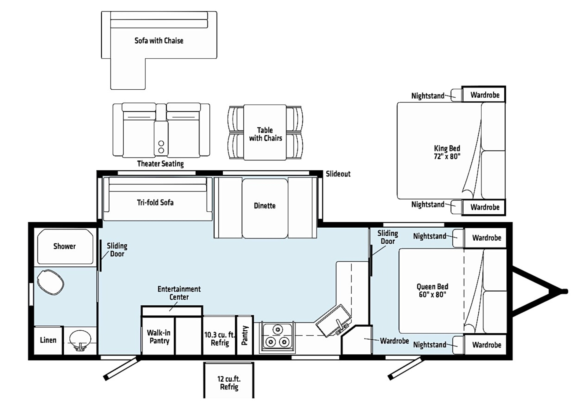 View Floor Plan for 2021 WINNEBAGO VOYAGE 2831RB