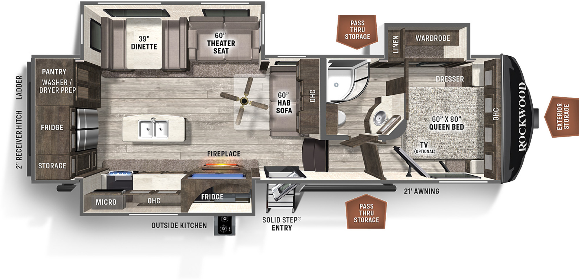 View Floor Plan for 2021 FOREST RIVER ROCKWOOD ULTRA LITE 2882S