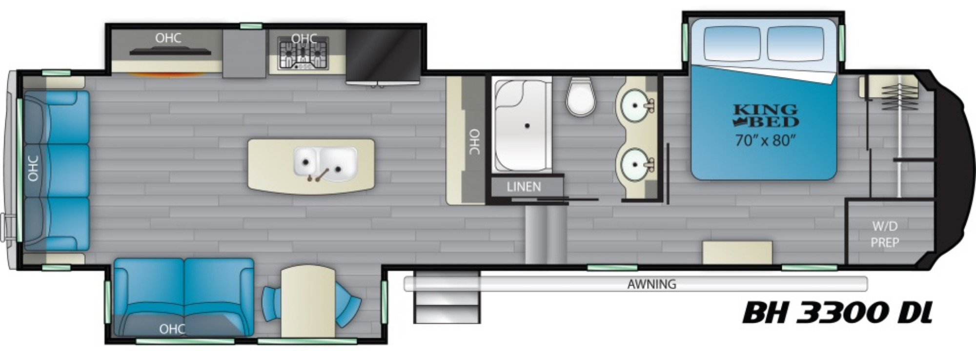 View Floor Plan for 2021 HEARTLAND BIGHORN 3300DL