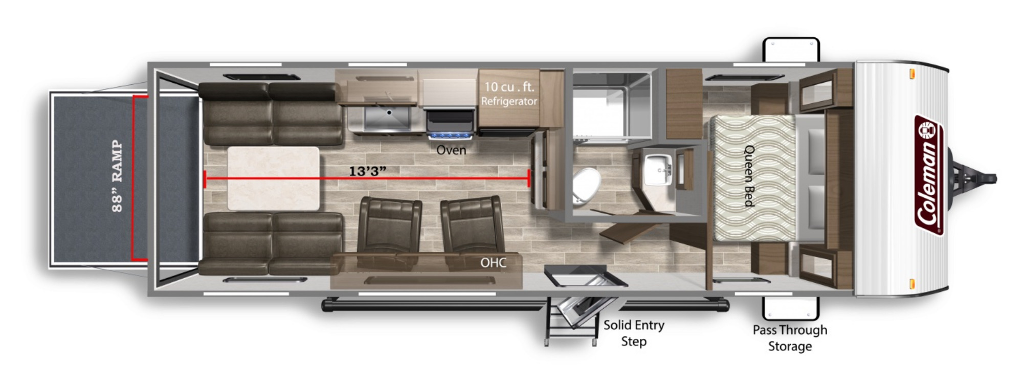 View Floor Plan for 2021 COLEMAN COLEMAN LANTERN 251TQ