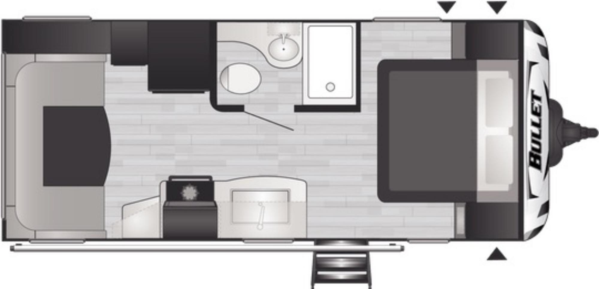 View Floor Plan for 2021 KEYSTONE BULLET 210RUDWE