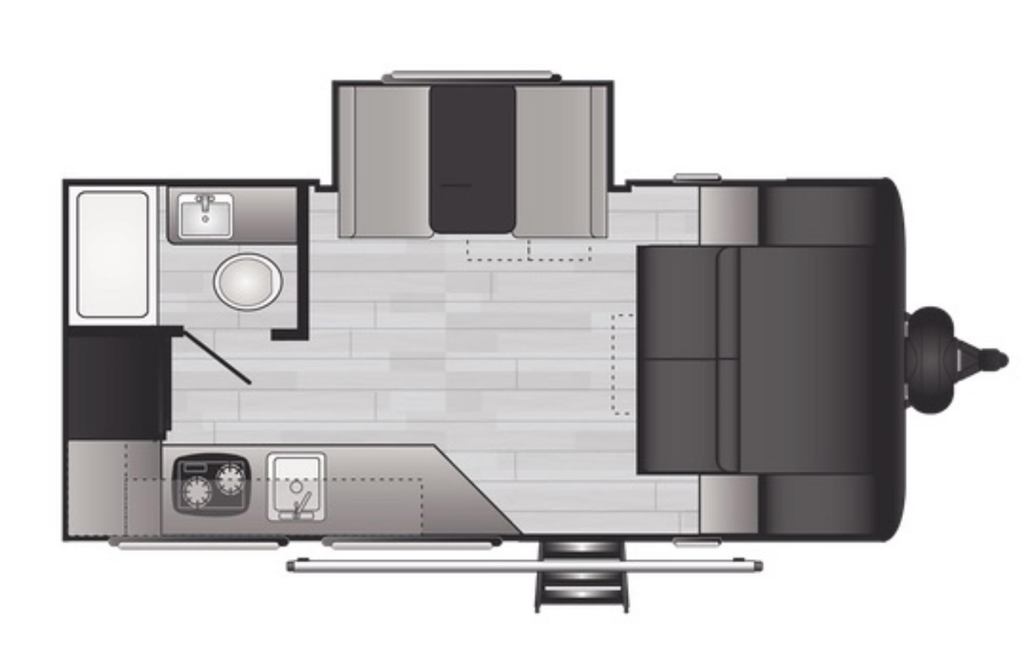 View Floor Plan for 2021 KEYSTONE HIDEOUT 174RK