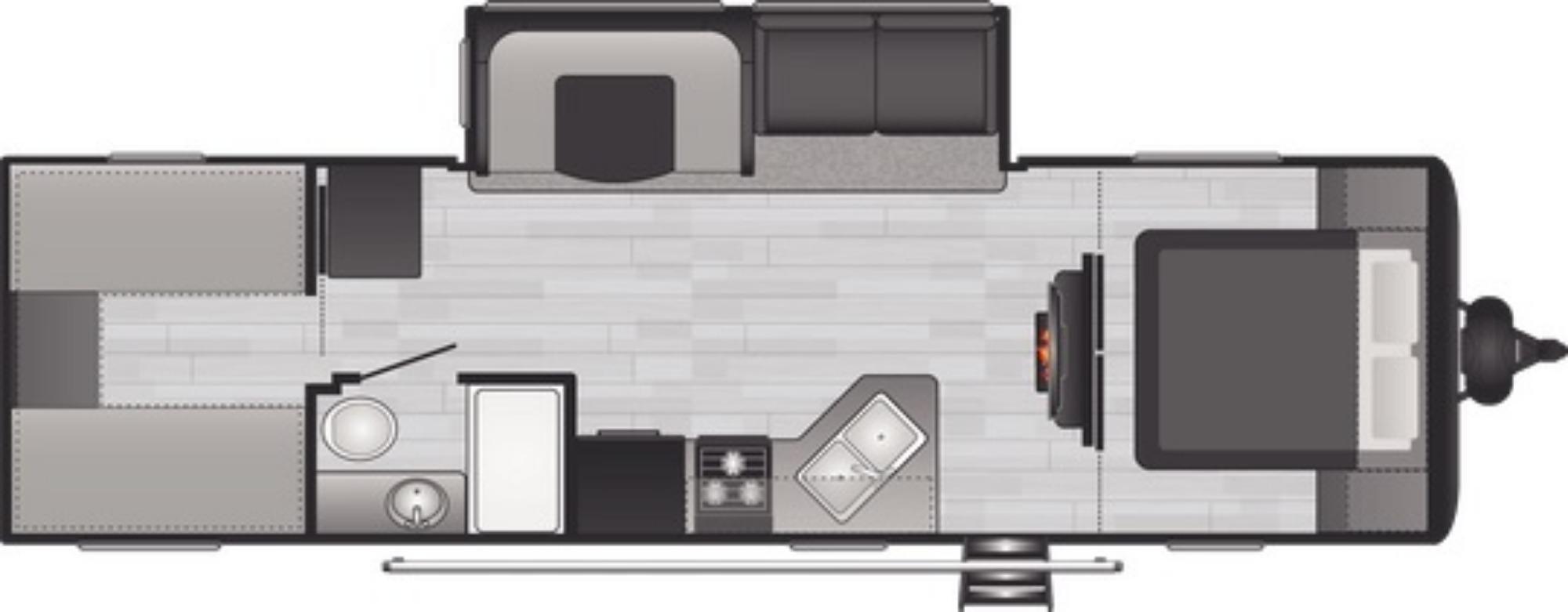 View Floor Plan for 2021 KEYSTONE HIDEOUT 29BQWE