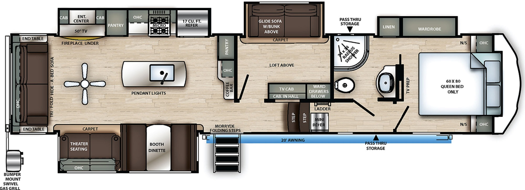 View Floor Plan for 2021 FOREST RIVER SANDPIPER C-CLASS 3660MB