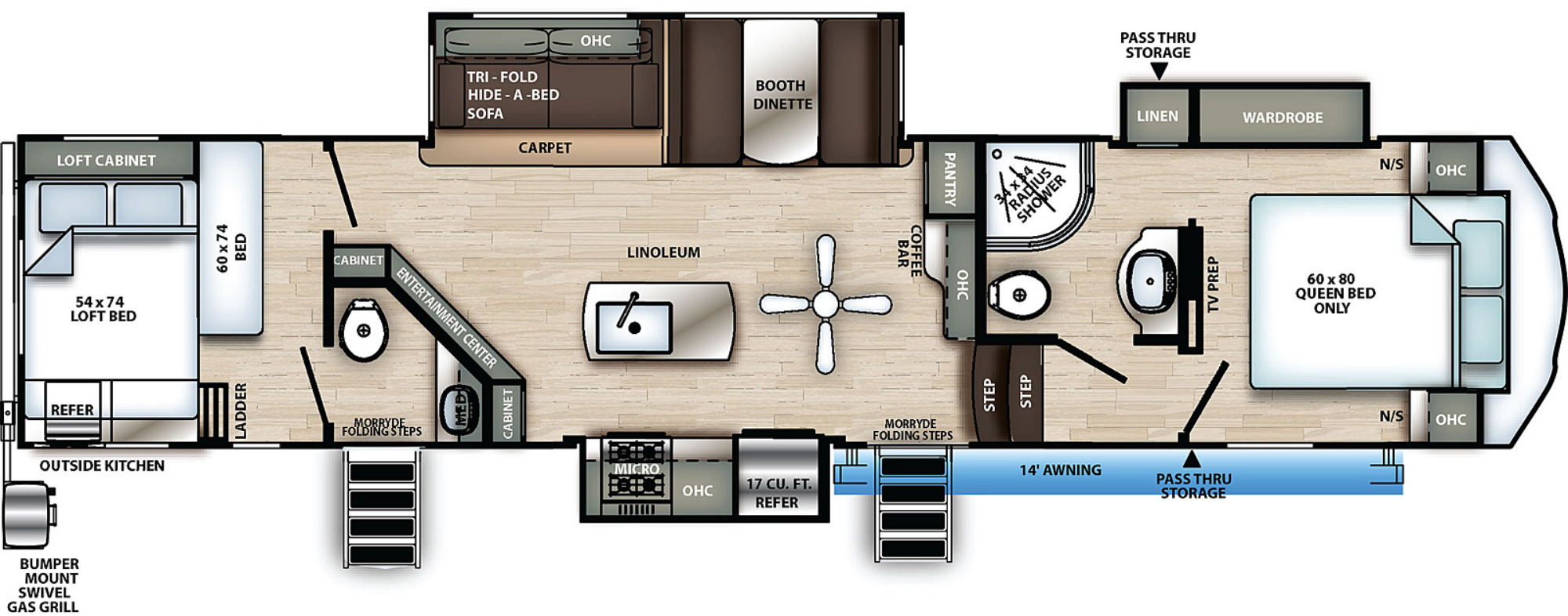 View Floor Plan for 2021 FOREST RIVER SIERRA C-CLASS 3440BH