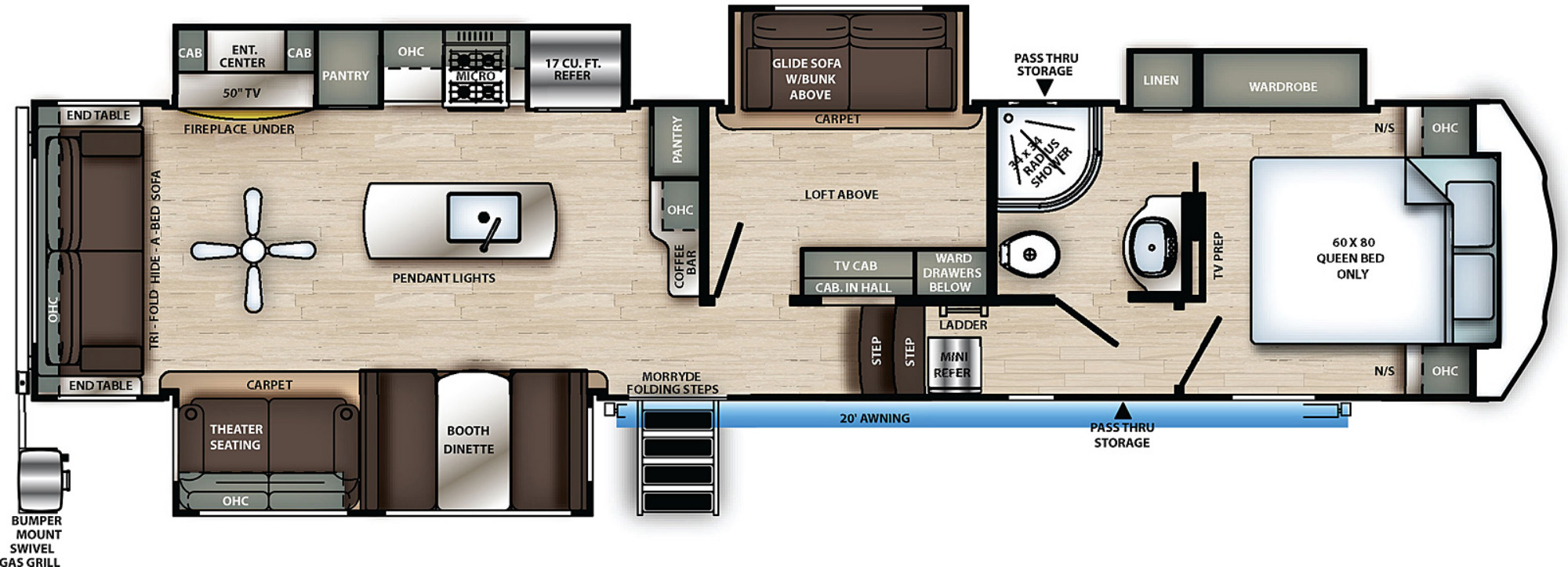 View Floor Plan for 2021 FOREST RIVER SIERRA C-CLASS 3660MB
