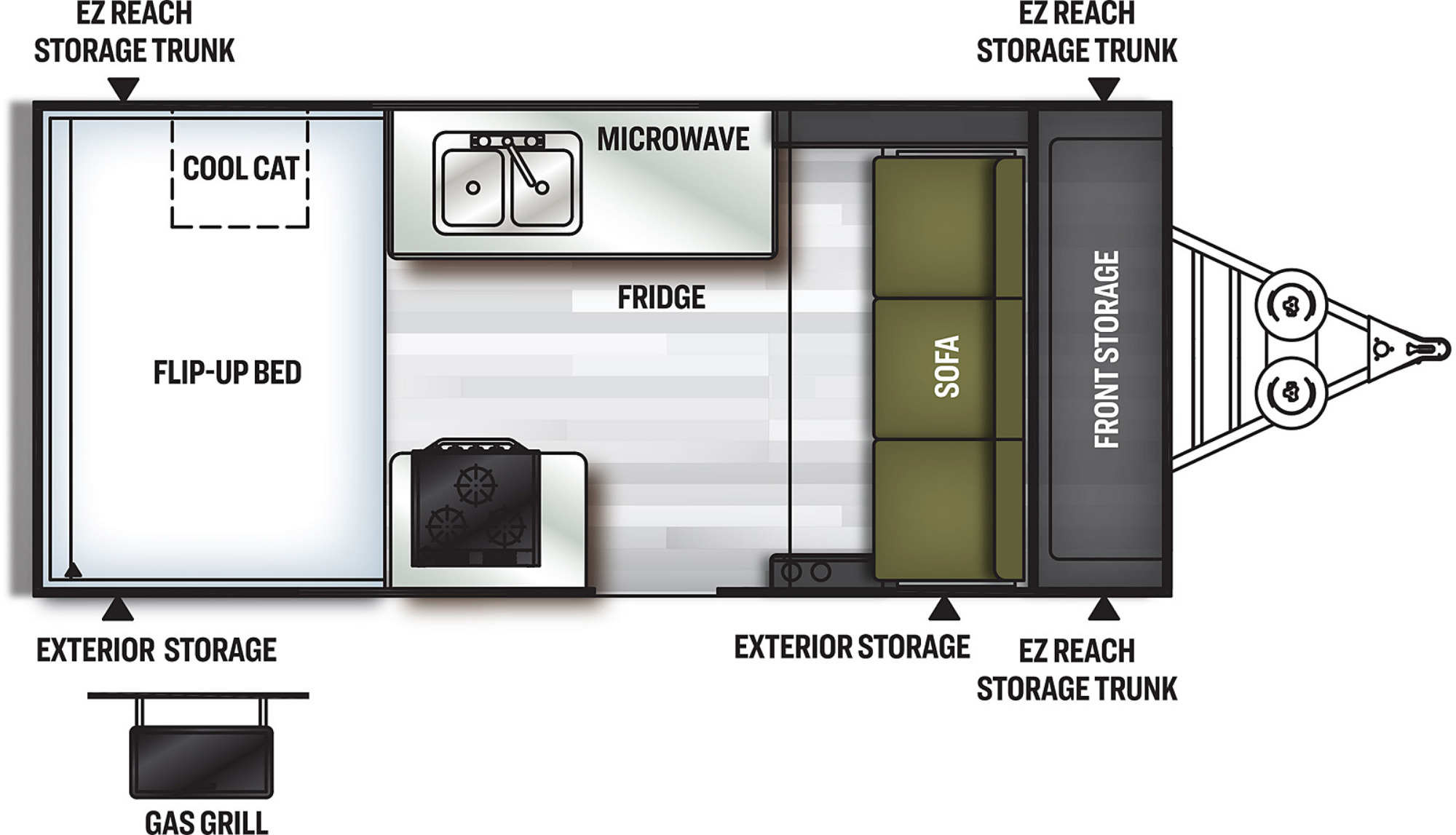View Floor Plan for 2021 FOREST RIVER FLAGSTAFF HARD SIDE T21FSHW