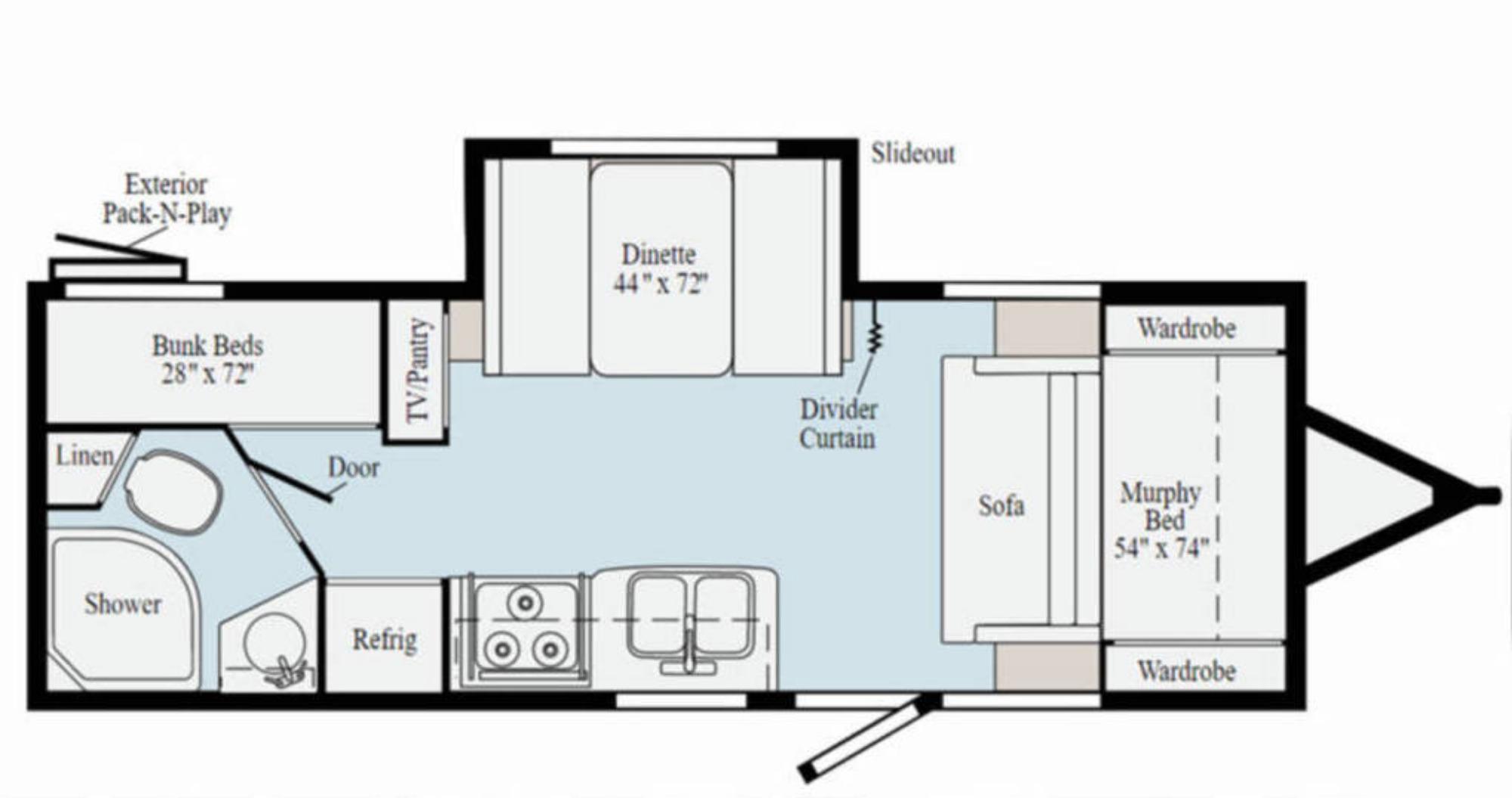 View Floor Plan for 2021 WINNEBAGO MICRO MINNIE 2306BHS