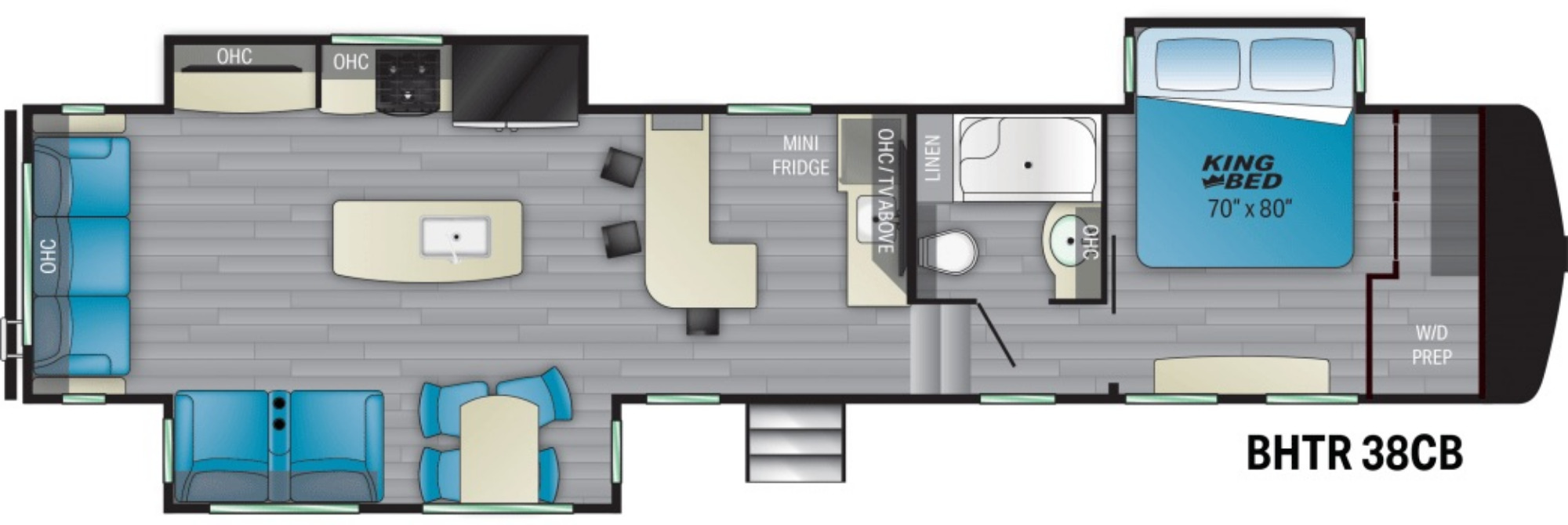 View Floor Plan for 2021 HEARTLAND BIGHORN TRAVELER 38CB
