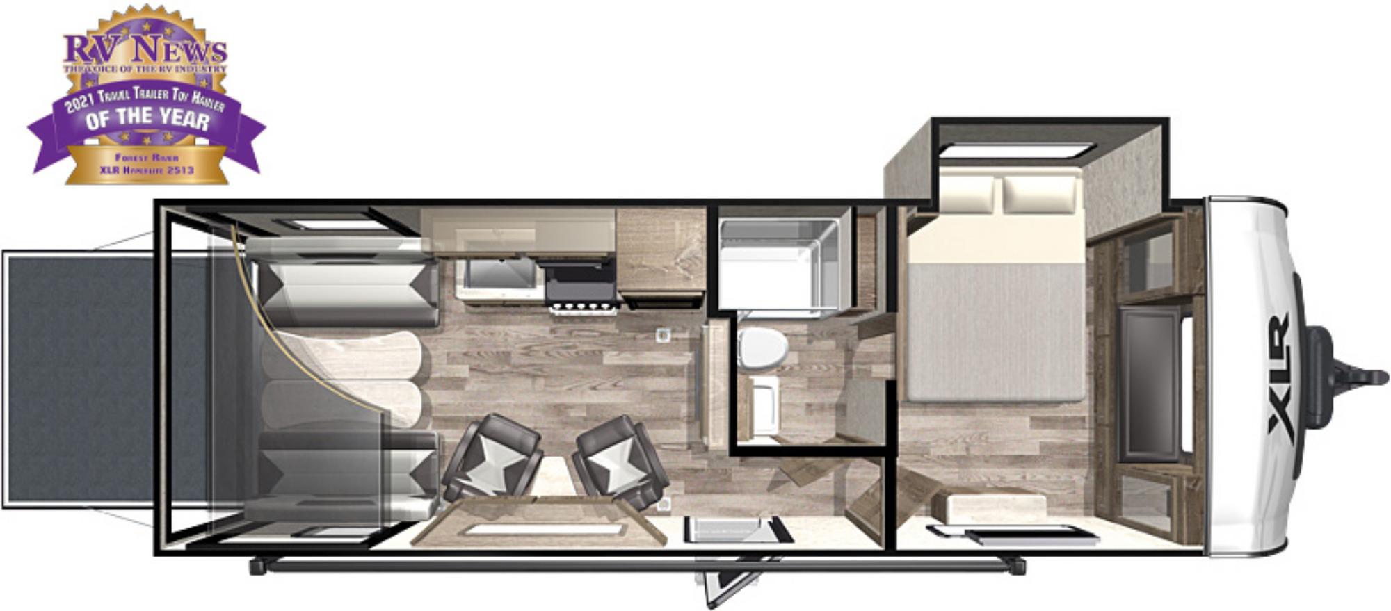 View Floor Plan for 2021 FOREST RIVER XLR HYPER LITE 2513