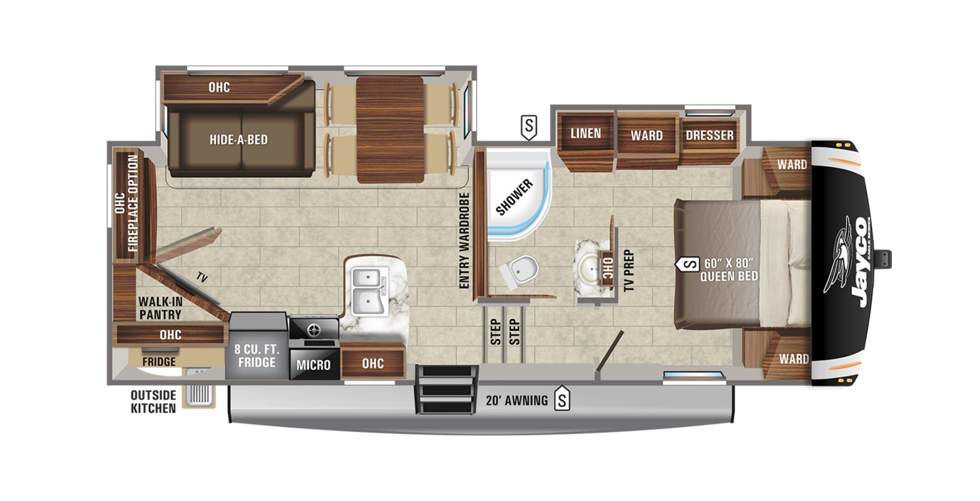 View Floor Plan for 2021 JAYCO EAGLE HT 25.5REOK