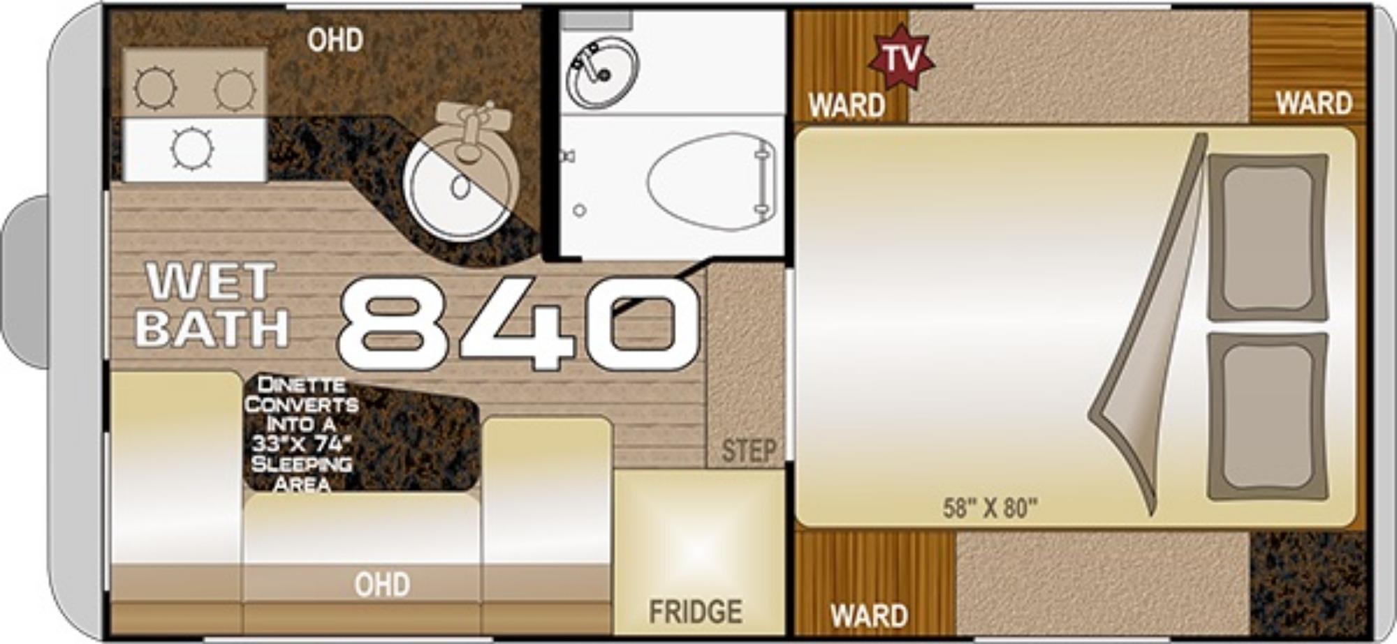 View Floor Plan for 2021 NORTHWOOD WOLF CREEK 840