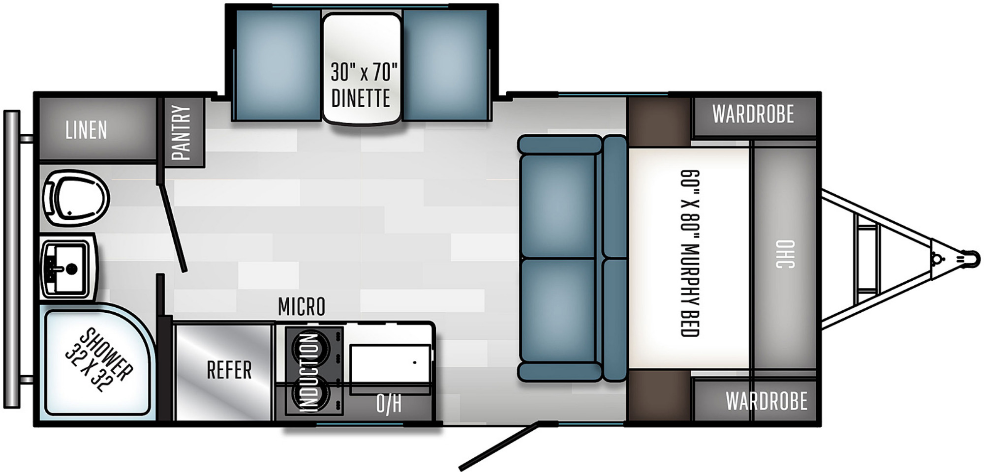 View Floor Plan for 2021 FOREST RIVER REAL-LITE 186