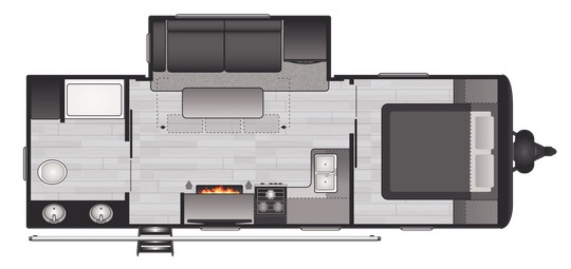View Floor Plan for 2021 KEYSTONE HIDEOUT 243RB
