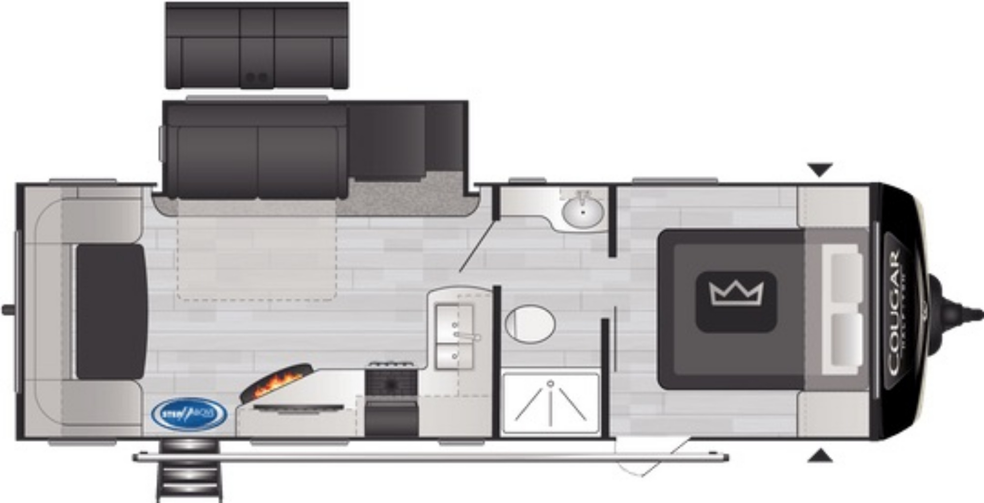 View Floor Plan for 2021 KEYSTONE COUGAR 25RDS