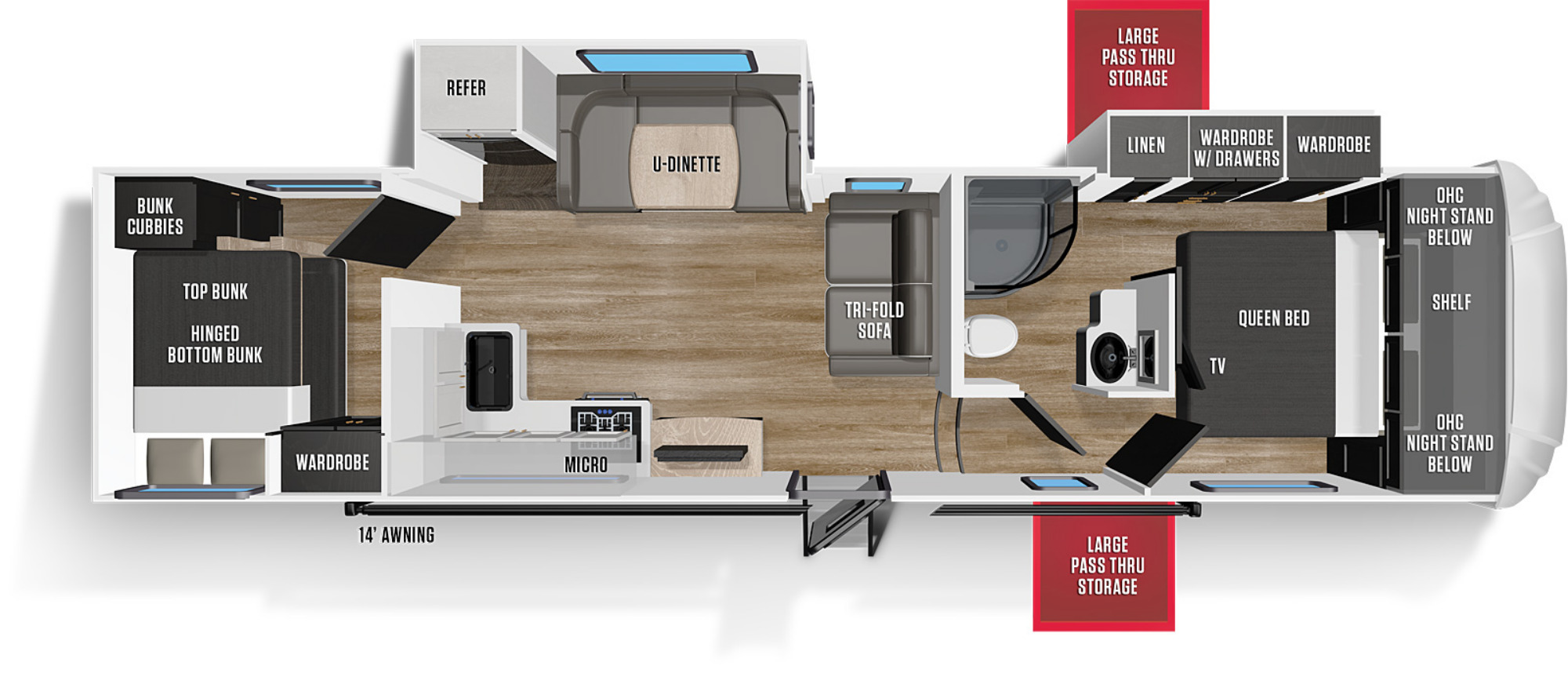 View Floor Plan for 2021 FOREST RIVER WILDCAT 297BH