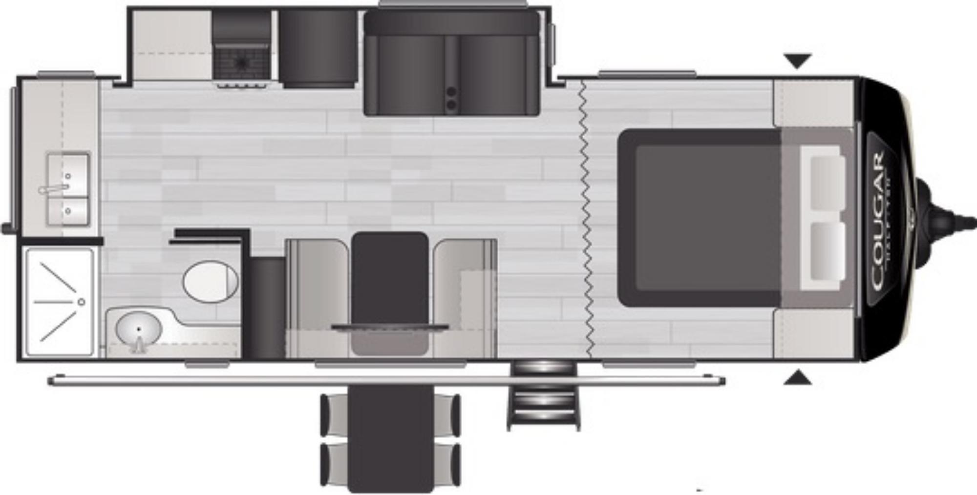 View Floor Plan for 2021 KEYSTONE COUGAR 22MLSWE