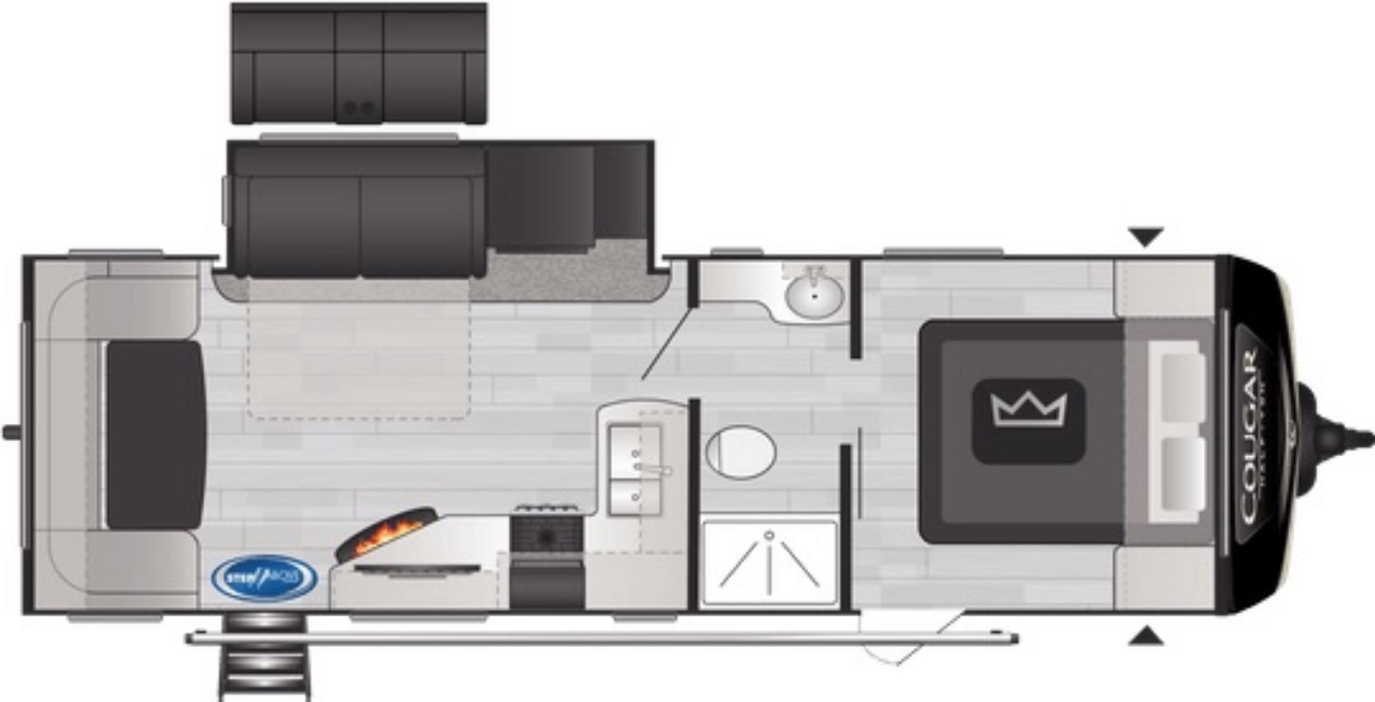 View Floor Plan for 2021 KEYSTONE COUGAR 25RDSWE