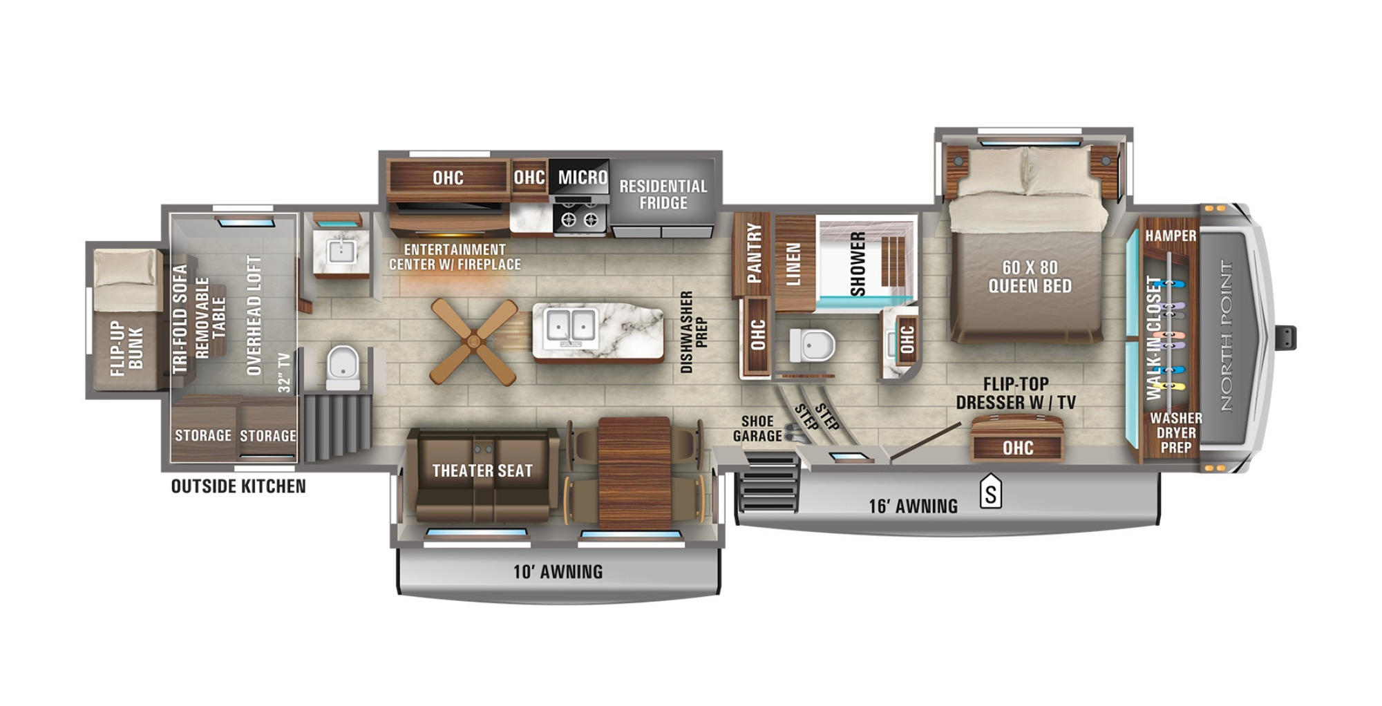View Floor Plan for 2021 JAYCO NORTH POINT 373BHOK