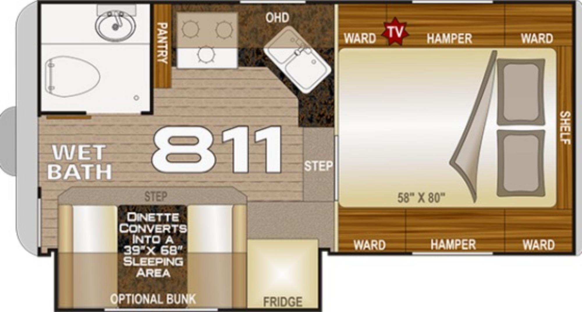 View Floor Plan for 2021 NORTHWOOD ARCTIC FOX CAMPER 811