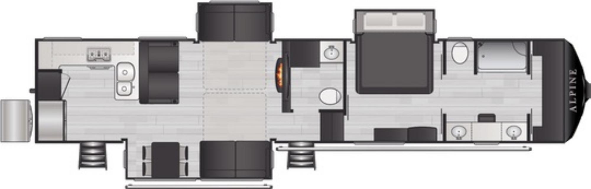 View Floor Plan for 2021 KEYSTONE ALPINE 3910RK