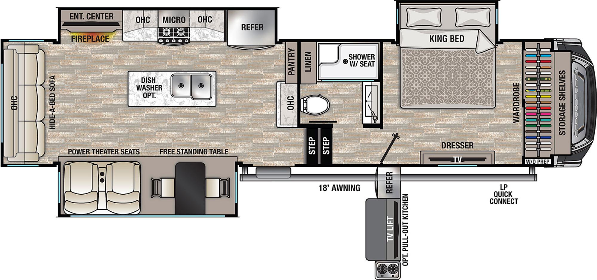 View Floor Plan for 2021 FOREST RIVER CEDAR CREEK 311RL