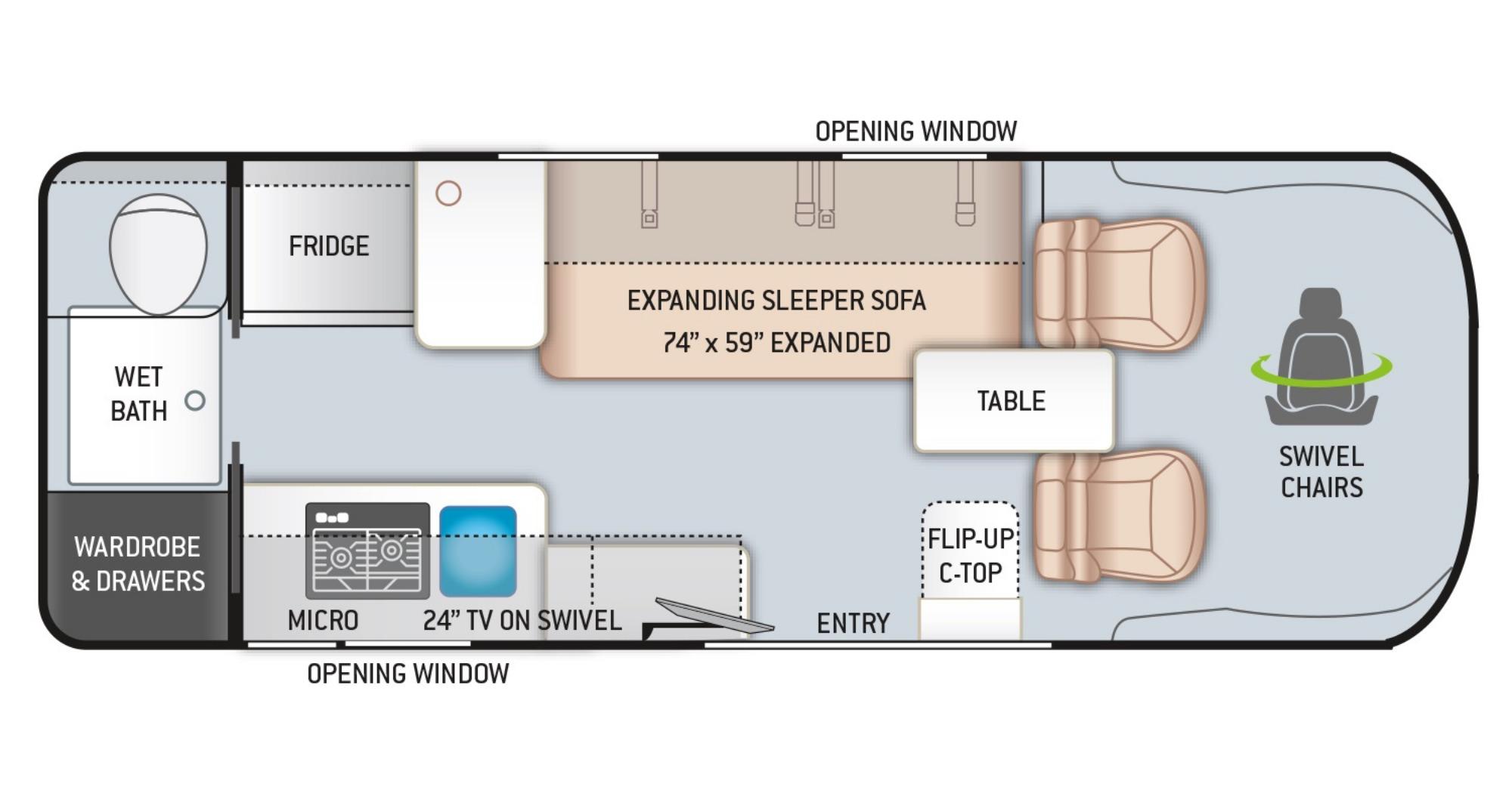 View Floor Plan for 2021 THOR TELLARO 20KT