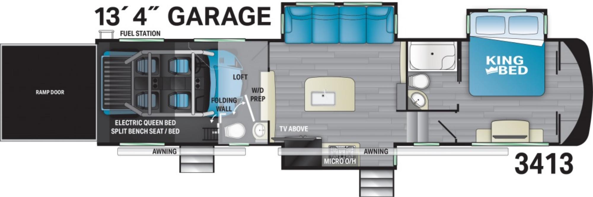 View Floor Plan for 2021 HEARTLAND CYCLONE 3413