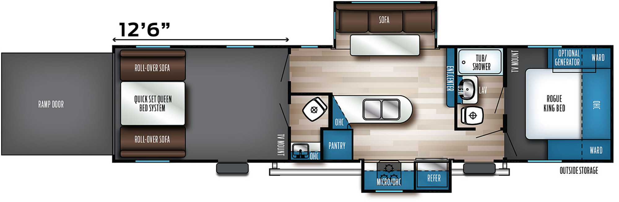 View Floor Plan for 2021 FOREST RIVER ROGUE 32V