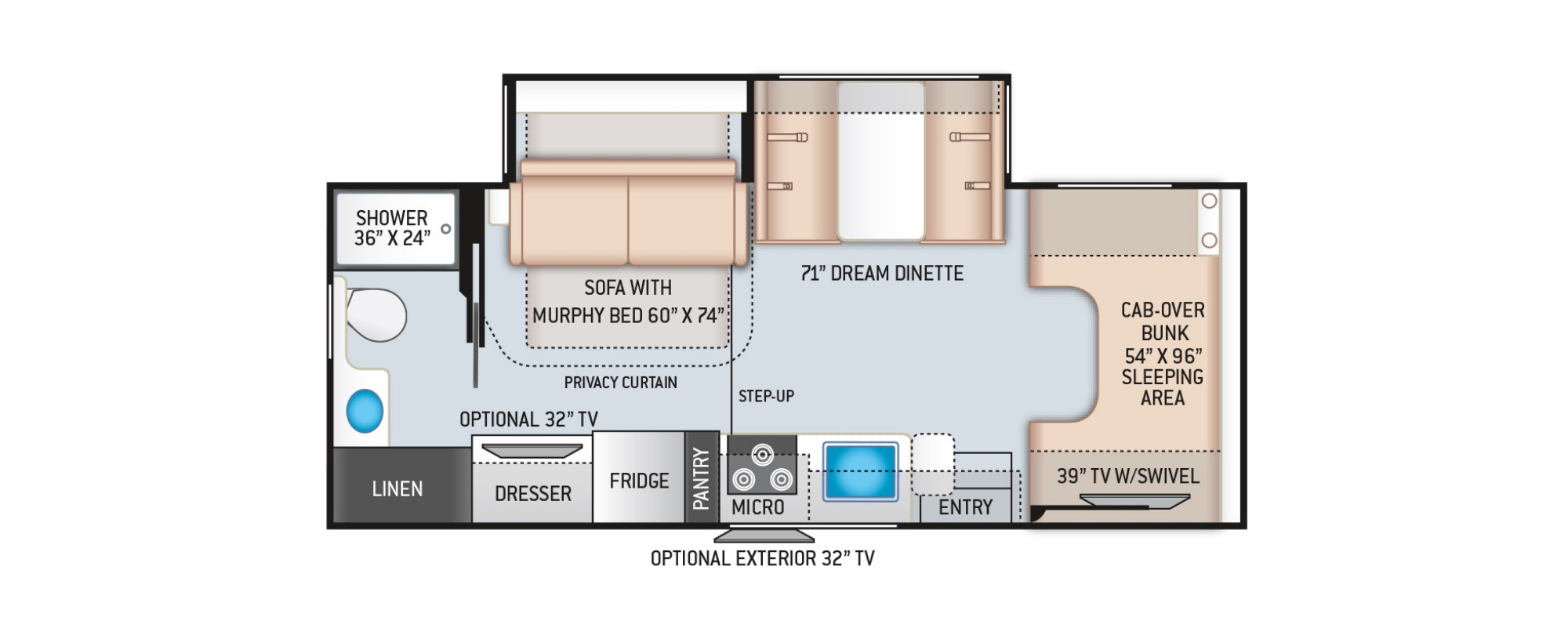 View Floor Plan for 2021 THOR FOUR WINDS 25M