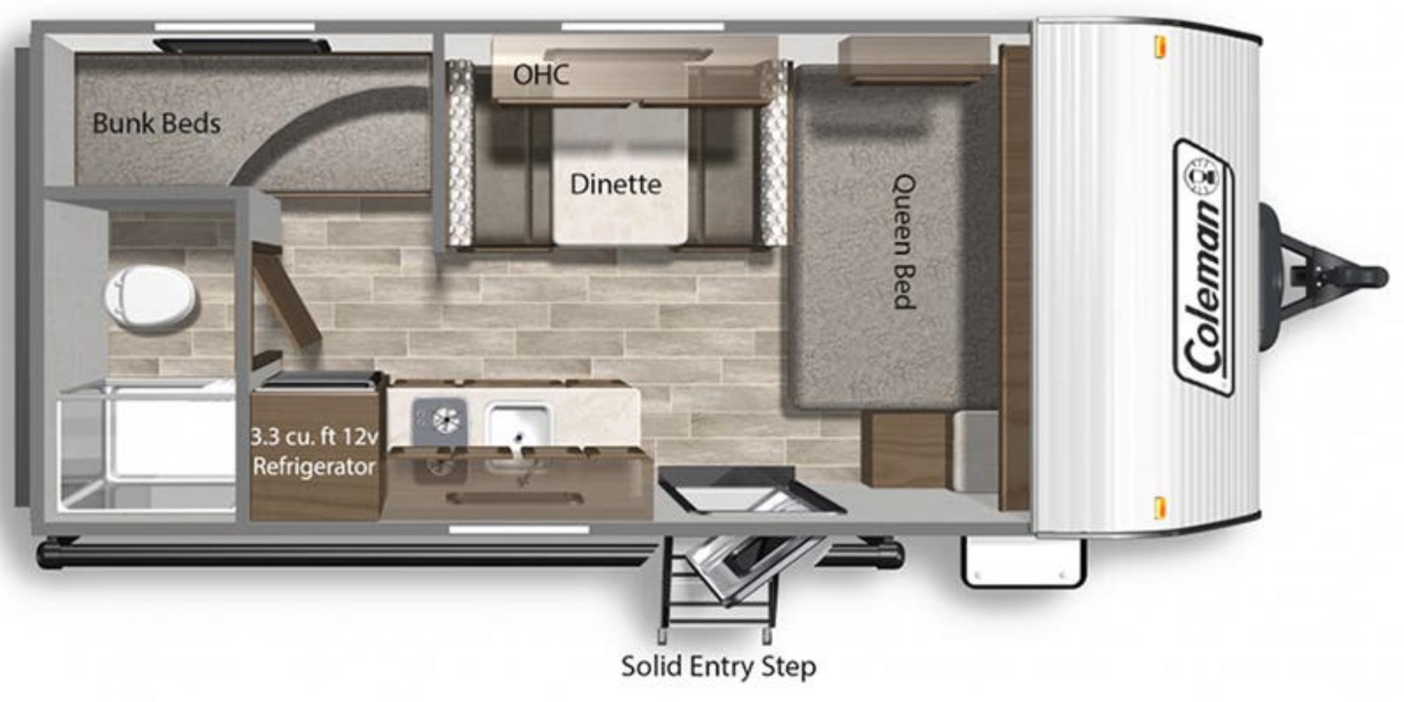 View Floor Plan for 2022 COLEMAN COLEMAN LANTERN LT 17B